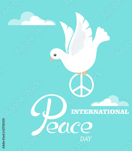 Peace Dove With Symbol Of Peace For The International Peace Day