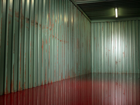 Interior of metal shipping container