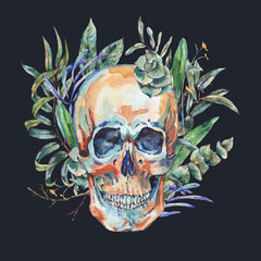 Watercolor skull with green tropical leaves and succulents,