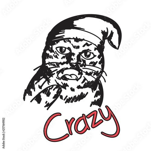 Awesome Hip Hop Cat For T Shirt Print Sticker Appeal Stockfotos