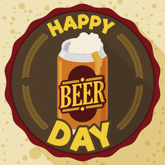 Commemorative Label with Can and Greetings for Beer Day Celebration, Vector Illustration