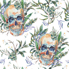 Watercolor seamless pattern of skull