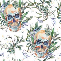 Watercolor seamless pattern of skull
