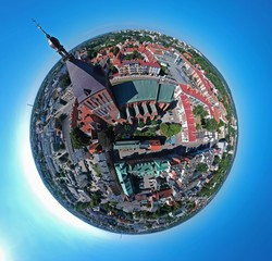 Aerial view on spherical panorama city, old town, city center, green city, cathedral.