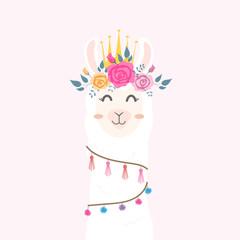Cute llama head with flower crown.