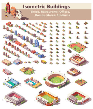 Vector isometric buildings collection