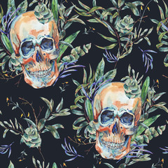 Watercolor seamless pattern of skull and succulents,