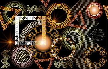 Geometric glowing 3d greek vector seamless pattern.
