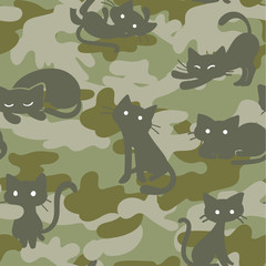 Vector Seamless Camouflage Pattern with Cats