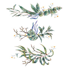 Watercolor set of wreath with green tropical leaves and succulen