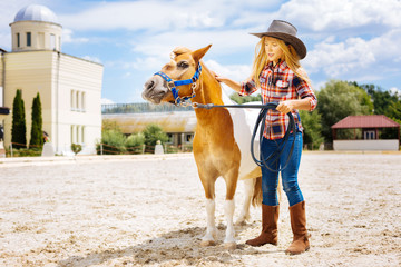 Leading pony. Serious good-looking girl wearing stylish brown riding boots leading little cute pony