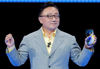 DJ Koh, Samsung's Mobile Communications Division President and CEO holds up the new Samsung Galaxy Note 9 during a product launch event in Brooklyn, New York