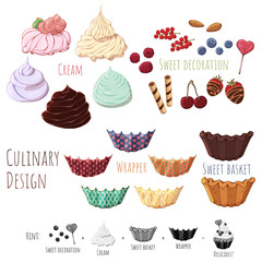 Group of vector colorful illustrations on the sweets theme; set of isolated products for cooking sweet baskets. Pictures contain realistic shadows and glare.