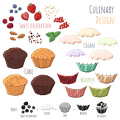 Group of vector colorful illustrations on the sweets theme; set of isolated products for cooking cupcake. Pictures contain realistic shadows and glare.