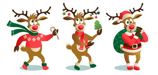 Cute and funny Christmas reindeers, cartoon vector illustration isolated on white background, reindeer with Christmas tree, gifts and dancing, having fun, decoration elements.