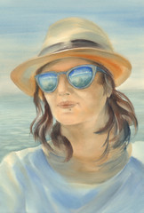 Watercolor portrait of beautiful girl in the sea background
