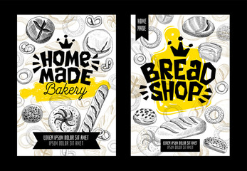 Food poster bakery cards set. Trendy cool sketch style. Modern sketch elements collection packaging, posters, cards design. Hand drawn vector illustration.