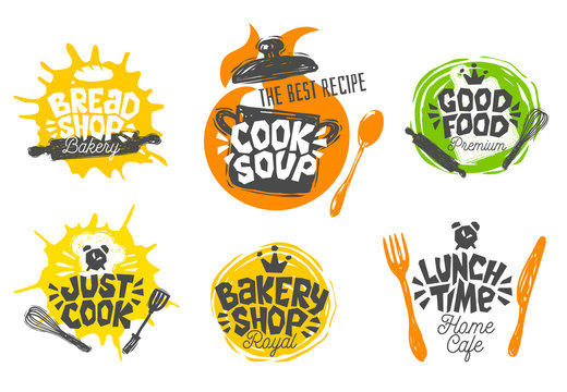 Sketch style cooking lettering icons set. For badges, labels, logo, bread shop, bakery, street festival, farmers market, country fair, shop, kitchen classes,. Hand drawn vector illustration.