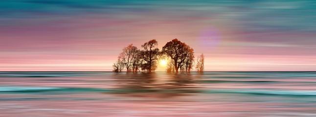 Poster Salmon 3D illustration. Beautiful landscape during sunset.