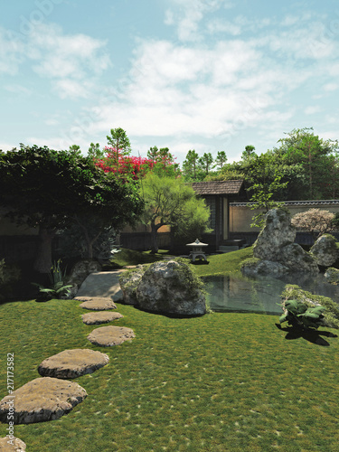 """Japanese traditional garden with tea house and koi pond, 3d digitally rendered illustration"" Stock photo and royalty-free images on Fotolia.com - Pic 217173582"