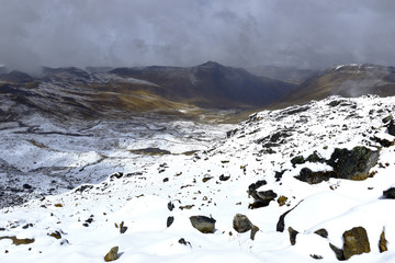 Imposing scenery after a heavy snowfall in the Huaytapallana mountain range in the central Andes of Peru.