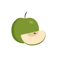 Whole and slice green apples icon in flat design