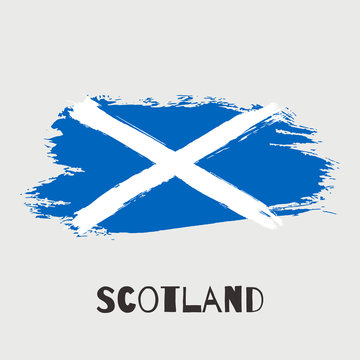 Scotland vector watercolor national country flag icon. Hand drawn illustration with dry brush stains, strokes, spots isolated on gray background. Painted grunge style texture for poster, banner design