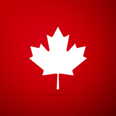 Canadian maple leaf icon isolated on red background. Canada symbol maple leaf. Flat design. Vector Illustration