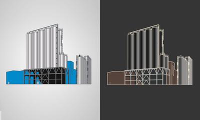 Silos de stockage industriels en 4 couleurs personnalisables avec 2 rendus graphiques différents