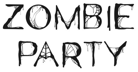 Zombie Party spider web text for halloween holiday