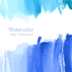 Fotobehang Schilderingen Vector turquoise blue, indigo watercolor texture background, dry brush stains, strokes, spots isolated on white. Abstract artistic frame, place for text or logo. Acrylic hand painted pours, fluid art.