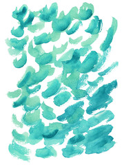 Bright blue, azure watercolor hand-painted background, brush's texture, minimalistic illustration