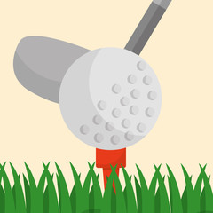 golf club ball on a tee grass sport vector illustration
