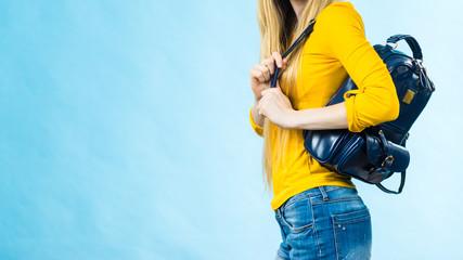 Teen girl with school backpack