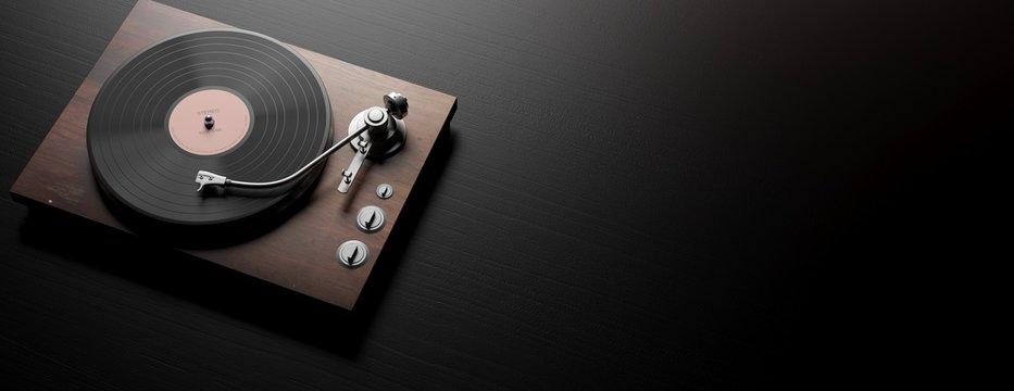 Vinyl LP record player on black wooden background, banner, copy space. 3d illustration