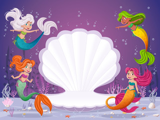 Cartoon mermaids swimming around open shell.