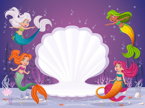 Cartoon mermaids swimming around open shell.