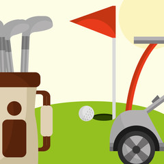 golf club car bag and red flag in the field vector illustration vector illustration