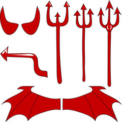 Vector set of the devil. Red devil horn, tail, trident, wings, isolated on white background. Hand Drawing. Vector Illustration