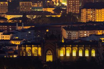 New cathedral of Vitoria-Gasteiz from olarizu  mountain, Spain