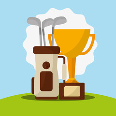 trophy golf clubs in bag champion vector illustration vector illustration
