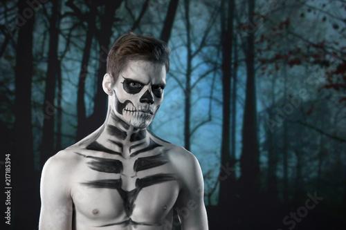 halloween scary skeleton man portrait in studio