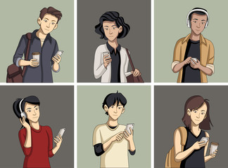 Cartoon young people with smart phones