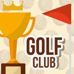 trophy golf club red flag balls background poster vector illustration vector illustration