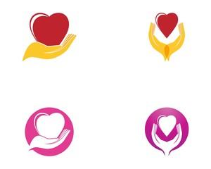 Love heart in hand logo vector template