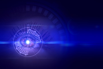 Female eye on an abstract background with holograms and neon glow.