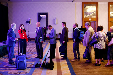 Attendees wait in line to speak with Brooke Rollins during the America First Energy Conference 2018 in New Orleans