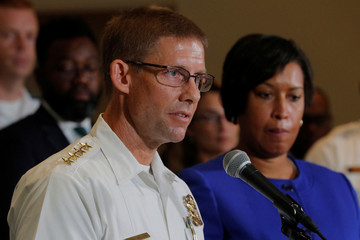 "Washington D.C. Mayor Muriel Bowser and U.S. Park Police Chief Robert MacLean answer questions from reporters about the city's preparations for the white nationalist-led rally marking the one year anniversary of 2017 Charlottesville ""Unite the Right"" prote"
