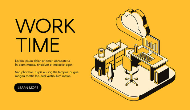 Office workplace vector illustration of isometric black thin line art on yellow halftone background. Manager working place with computer notebook on table and web cloud internet technology