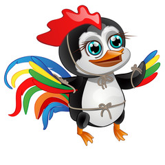 Cute little penguin with bright feathers of a rooster isolated on a white background. Vector illustration.